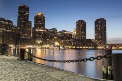 Boston horisont av Boston på solnedgången Royaltyfri Foto
