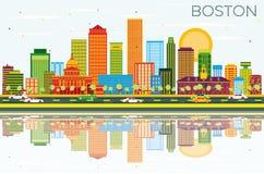Boston horisont med färgbyggnader, blå himmel och reflexioner Royaltyfria Bilder