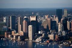 Boston horisont och hamnplats Royaltyfri Bild