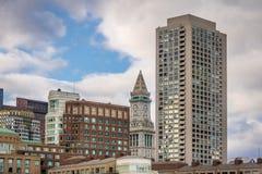 Boston horisont och klockatorn för beställnings- hus - Boston, Massachusetts, USA Royaltyfria Foton