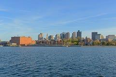 Boston horisont och strand, Massachusetts, USA Arkivbild
