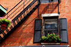 Boston house fragment. Fragment of a red brick house in Boston historical North End Royalty Free Stock Image