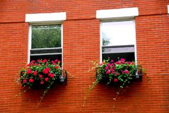Boston house fragment. Fragment of a red brick house in Boston historical North End with wrought iron flower boxes Royalty Free Stock Image