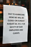 Boston, Hurricane Irene - Closed store in Newbury Royalty Free Stock Photo