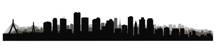 Boston i stadens centrum stadshorisont Sikt för USA skyskrapacityscape vektor illustrationer