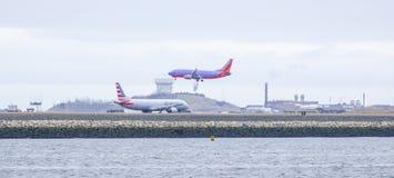 Boston International Airport - the Runway - BOSTON / MASSACHUSETTS - APRIL 3, 2017. Boston International Airport - the Runway Stock Photography