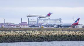 Boston International Airport - the Runway - BOSTON / MASSACHUSETTS - APRIL 3, 2017. Boston International Airport - the Runway Stock Images