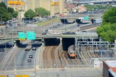 Boston Back Bay Skyline and I-90, Boston, USA. Boston Interstate Highway I-90 Massachusetts Turnpike and Orange Line Metro in Boston, Massachusetts, USA royalty free stock images