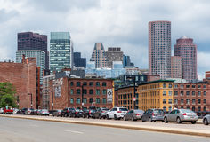 Boston - June 2016, MA, USA: Boston cityscape in a cloudy day, view on skyscrapers and historic old buildings in downtown Royalty Free Stock Photos
