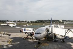 Boston le Massachusetts Etats-Unis 23 09 2017 - Service scandinave d'embarquement de vol des lignes aériennes SAS à l'aéroport in Photo stock