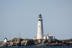 Boston Lighthouse. The first lighthouse to be built on the site dates back to 1716, and was the first lighthouse to be built in what is now the United States royalty free stock photo