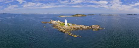 Boston Lighthouse in Boston Harbor, Massachusetts, USA. Boston Lighthouse panorama on Little Brewster Island in Boston Harbor, Boston, Massachusetts, USA royalty free stock images