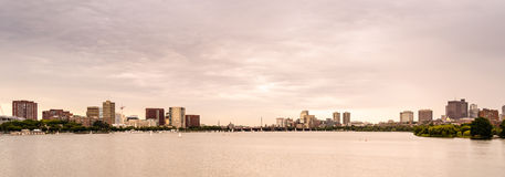 Boston linia horyzontu na zmierzchu Zdjęcie Stock