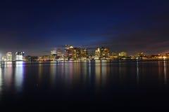 Boston linia horyzontu przy nocą, Massachusetts, usa Obraz Royalty Free