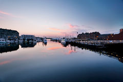 Boston Long Wharf at dawn Stock Photos