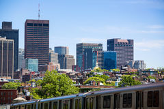 Boston from Longfellow Bridge in Massachusetts Royalty Free Stock Images
