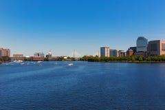 Boston from Longfellow Bridge in Massachusetts Stock Images