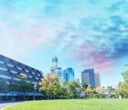 Boston, MA. Beautiful city skyline at dusk Royalty Free Stock Image