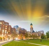 Boston, MA. Beautiful city skyline at dusk Stock Photos