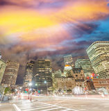 Boston, MA. Beautiful night skyline on a autumn evening Royalty Free Stock Photo