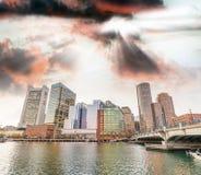 Boston, MA. Beautiful sunset skyline and buildings stock photo