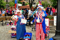 Boston, MA: Betsy Ross and Uncle Sam at Quincy Market Royalty Free Stock Photo
