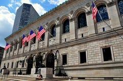 Boston, MA:  Boston Public Library. The neo-Renaissance facade of the venerable Boston Public Library in Copley Square designed by McKim, Mead, and White and Stock Photos