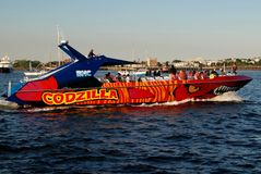 Boston, MA: Godzilla Touring Boat. BOSTON, MASSACHUSETTS: Godzilla high speed boat takes tourists for tours of Boston harbour stock images