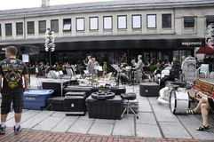 Boston mA, il 30 giugno: Faneuil Hall Marketplace da Boston del centro nello stato di Massachusettes di U.S.A. Immagine Stock Libera da Diritti