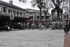 Boston mA, il 30 giugno: Faneuil Hall Marketplace da Boston del centro nello stato di Massachusettes di U.S.A. Fotografie Stock Libere da Diritti