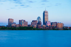 Boston, MA - June 2016, USA: Back Bay skyline during the sunset, view from Charles River Royalty Free Stock Photo