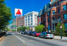 Boston, USA: Boston Marathon. Boston, MA - June of 2016, USA: Boston Marathon, view of Kenmore Square and big Citgo logo on rooftop of building royalty free stock photography