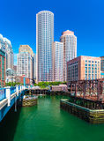 Boston, MA - June 2016, USA: Skyscrapers in downtown of Boston, view from Evelyn Moakley Bridge on financial district of the city Stock Photo