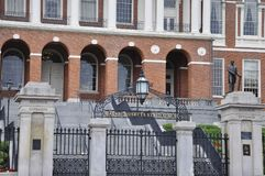 Boston Ma, 30 Juni: Het Huis van de staat van Massachusettes-ingang van Boston in de V.S. Royalty-vrije Stock Fotografie