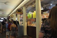 Boston Ma, 30 Juni: Quincy Market-binnenland van Faneuil-Markt in Boston Van de binnenstad van Massachusettes-Staat van de V.S. Stock Foto