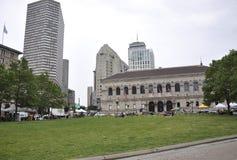 Boston mA, le 30 juin : Bibliothèque publique dans la place de Copley de Boston dans l'état de Massachusettes des Etats-Unis Images libres de droits