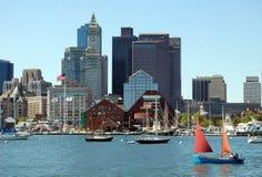 Boston, mA: Orizzonte e porto Immagine Stock Libera da Diritti