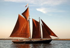 Boston, MA: Sailboat in Boston Harbour. The two masted schooner Roseway with its distinct, fully open, orange-brown sails sailing in the ocean waters off the Royalty Free Stock Photos