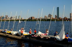 Boston, MA: Sailboat Club and Skyline Royalty Free Stock Images
