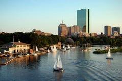 Boston, MA: Skyline and Charles River. Sailboats near the Yacht Stock Image
