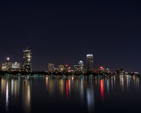 Boston MA skyline. At night time.color Royalty Free Stock Photography