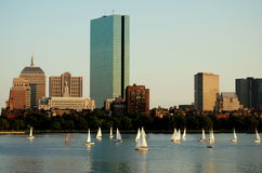 Boston, MA: Skyline and Sailboats Stock Images