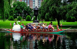 Boston, MA: Swan Boat in the Boston Public Garden Royalty Free Stock Photo