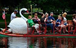 Boston, MA: Swan Boat Ride in Boston Public Garden Stock Image