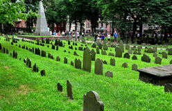 Boston, MA: 18th Century Graves at Grannary Burial Ground Royalty Free Stock Photo