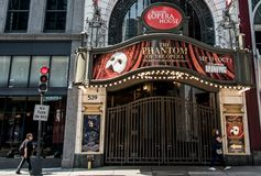Boston, MA USA 06.09.2017 Front of the Opera House Theater iconic neon sign dominates Washington Street Theater District Royalty Free Stock Photos