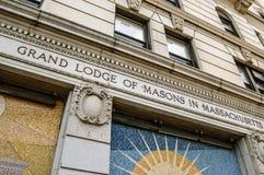 Boston, MA, usa 25 Jul 2009: Fasadowy budynek Uroczysta stróżówka kamieniarzi w Massachusetts Obrazy Stock