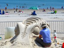 Boston, 19 MA/USA-Juli 2013-respecteert Strand het Nationale Zand Beeldhouwen royalty-vrije stock foto's