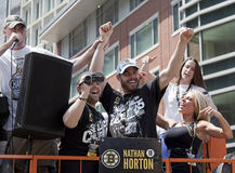 BOSTON, MA, USA - JUNE 18: Nathan Horton celebrates the Stanley cup victory at the Boston Bruins parade after winning the cup for. The first time in 39 years Royalty Free Stock Photos