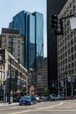 Boston MA USA 04.09.2017 skyline summer day panoramic view buildings downtown and road with traffic Stock Photo